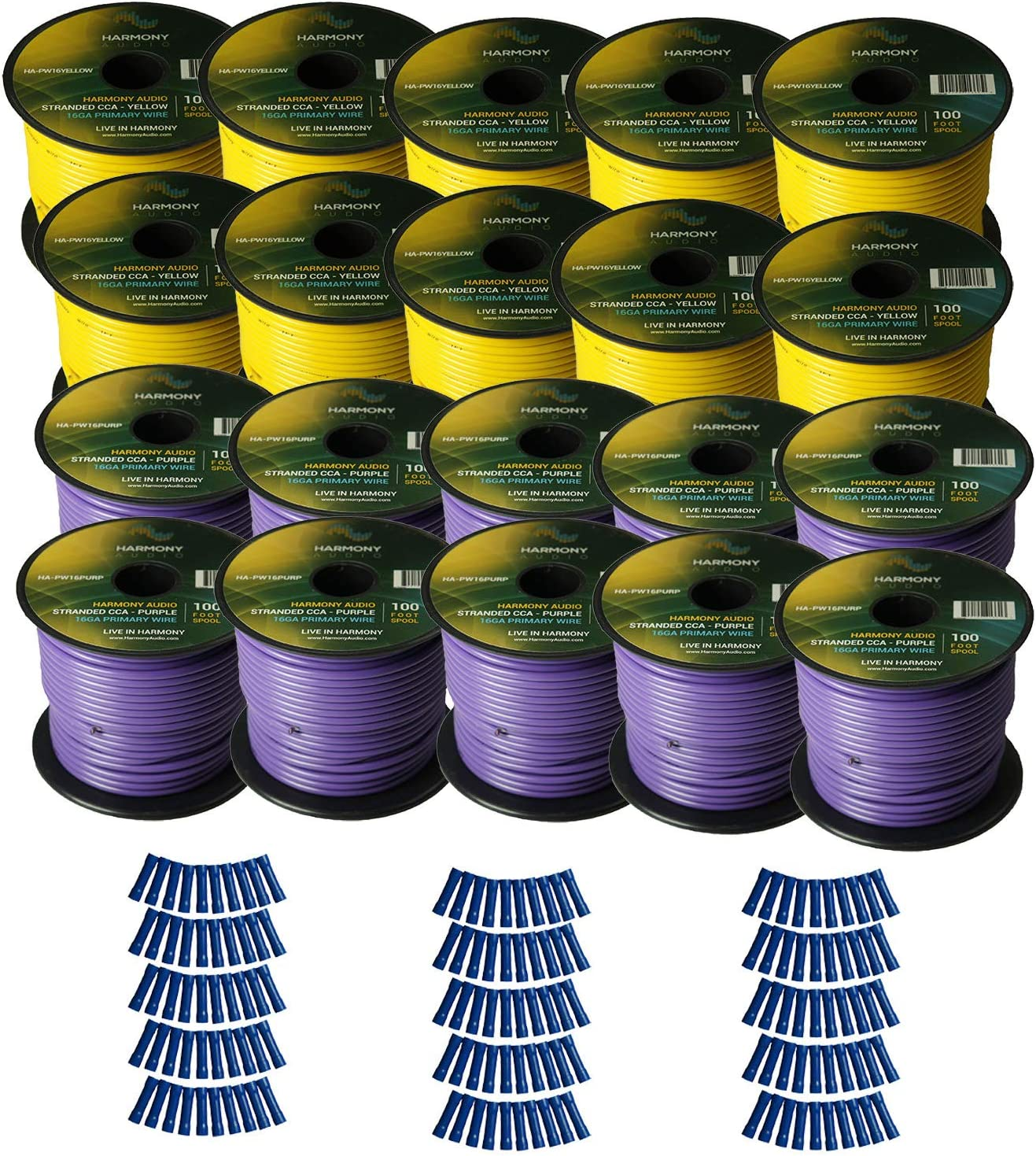 Harmony Audio Primary Single Conductor 16 Gauge Power or Ground Wire - 20 Rolls - 2000 Feet - Yellow & Purple for Car Audio/Trailer/Model Train/Remote