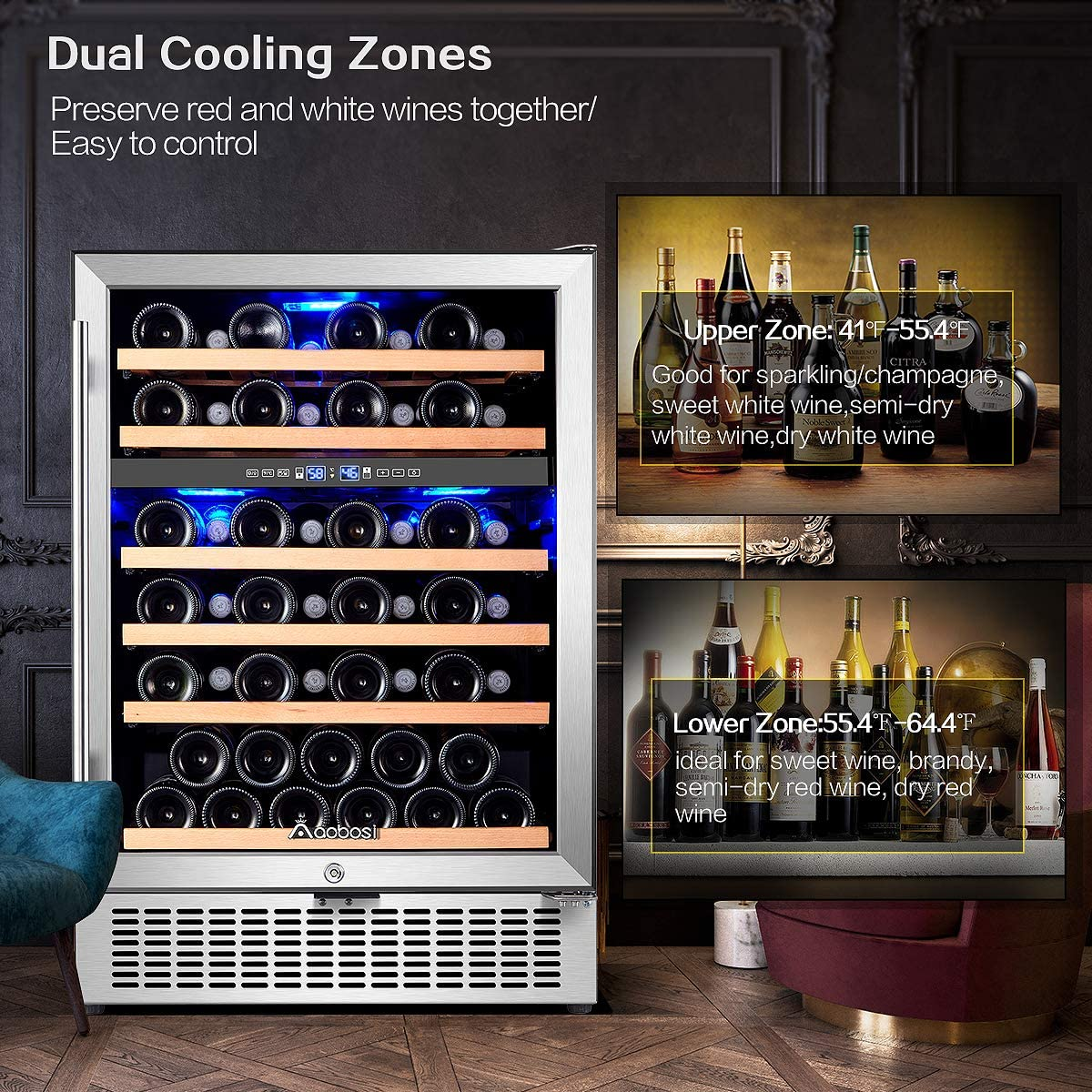 【Upgraded】Wine Cooler Dual Zone,Aobosi 24 inch 51 Bottle Wine refrigerator Built-in or Freestanding with Fashion Look,Quick and Silent Cooling System...