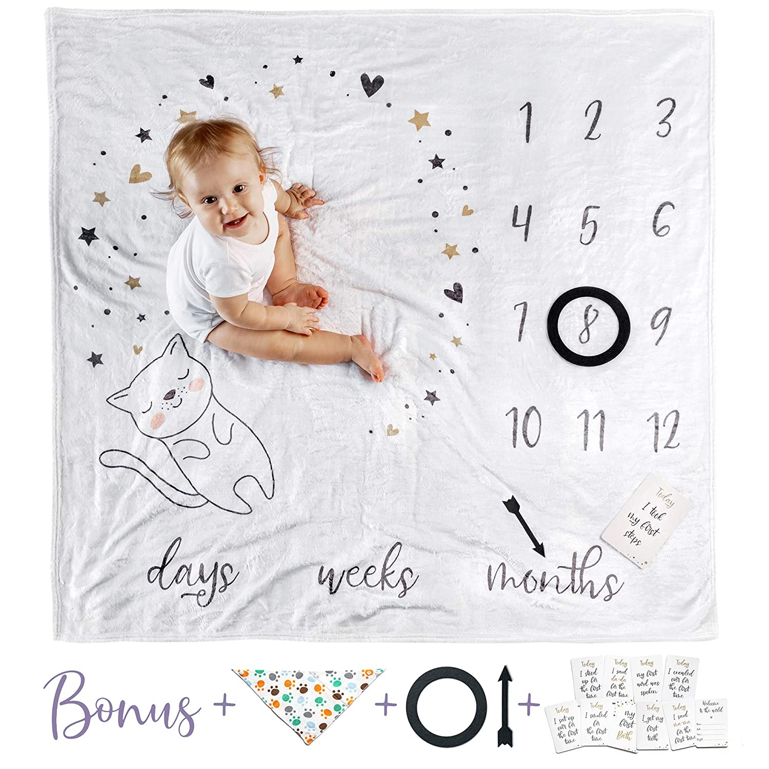 Double Sided Monthly Baby Milestone Blanket- Month Blanket for Baby Pictures Boy and Girl Milestone Blanket Photo Blanket with Baby Photo Props Monthly Blankets for Newborns Multicolor