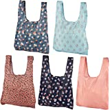 Reusable Grocery Bags - 5-Pack Foldable Shopping Bags, Eco-Friendly, Lightweight, Decorative Polyester Tote Bags in 5 Designs, 21.7 x 13.5 x 3.9 Inches