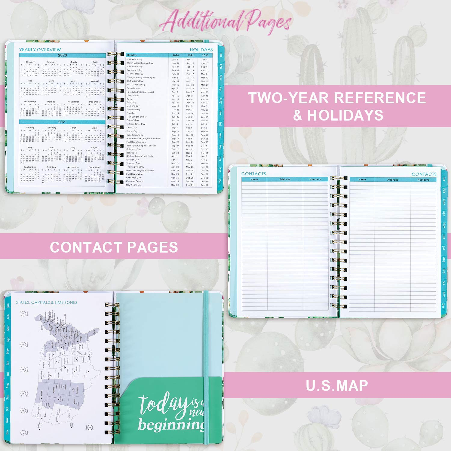 Monthly and Year Planner Inspirational Quotes Thick Paper Wire Binding Achieve Your Goals /& Improve Productivity Weekly Flexible Hardcover Planner 2020 8.5 x 6.4 Inner Pocket