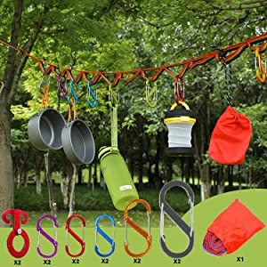 BSGB 13PCS Outdoor Camping Lanyard Rope Campsite Storage Strap Tent Clothesline Hanger Light Hanging Decoration Windproof Hang Cord Lanyard with Keychain Carabiners Self-Lock Hook Buckle Accessories