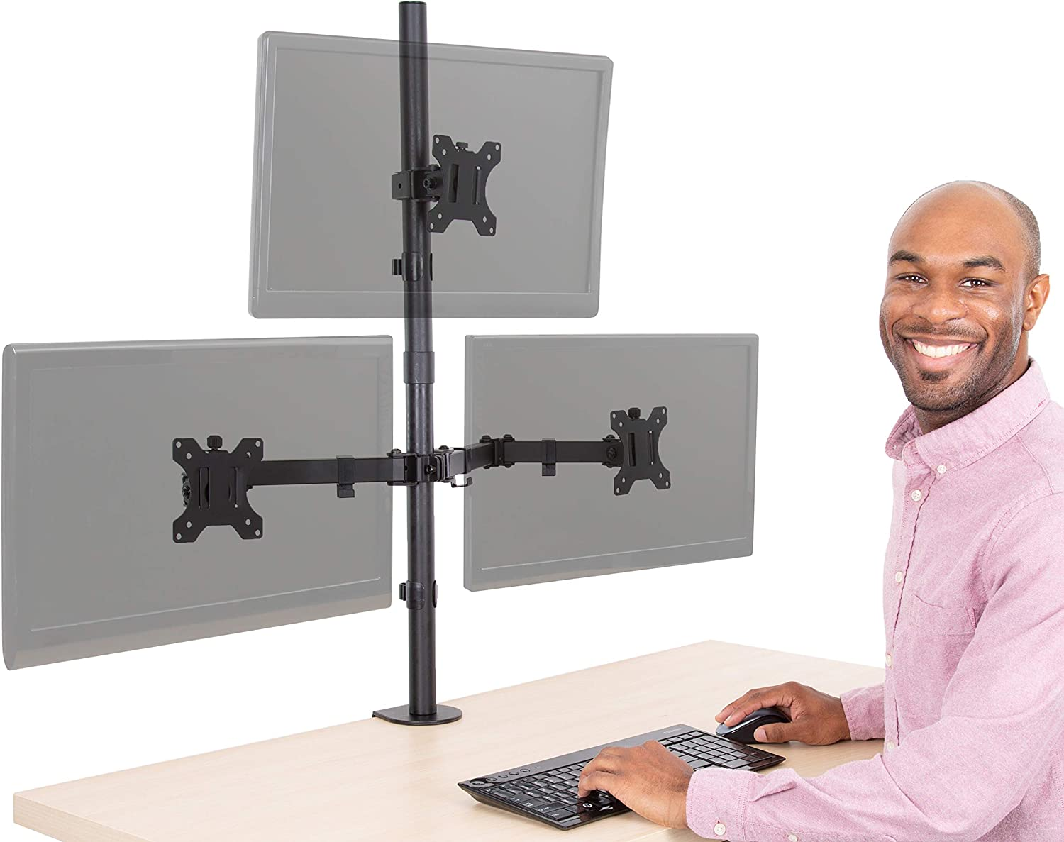 Stand Steady 9 Monitor Mount Desk Stand  Height Adjustable Triple Monitor  Stand with Desk Clamp Full Articulation VESA Mount Fits Most LCD/LED