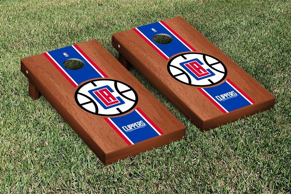 Los Angeles LA Clippers NBA Basketball Cornhole Game Set Rosewood Stained Stripe Version