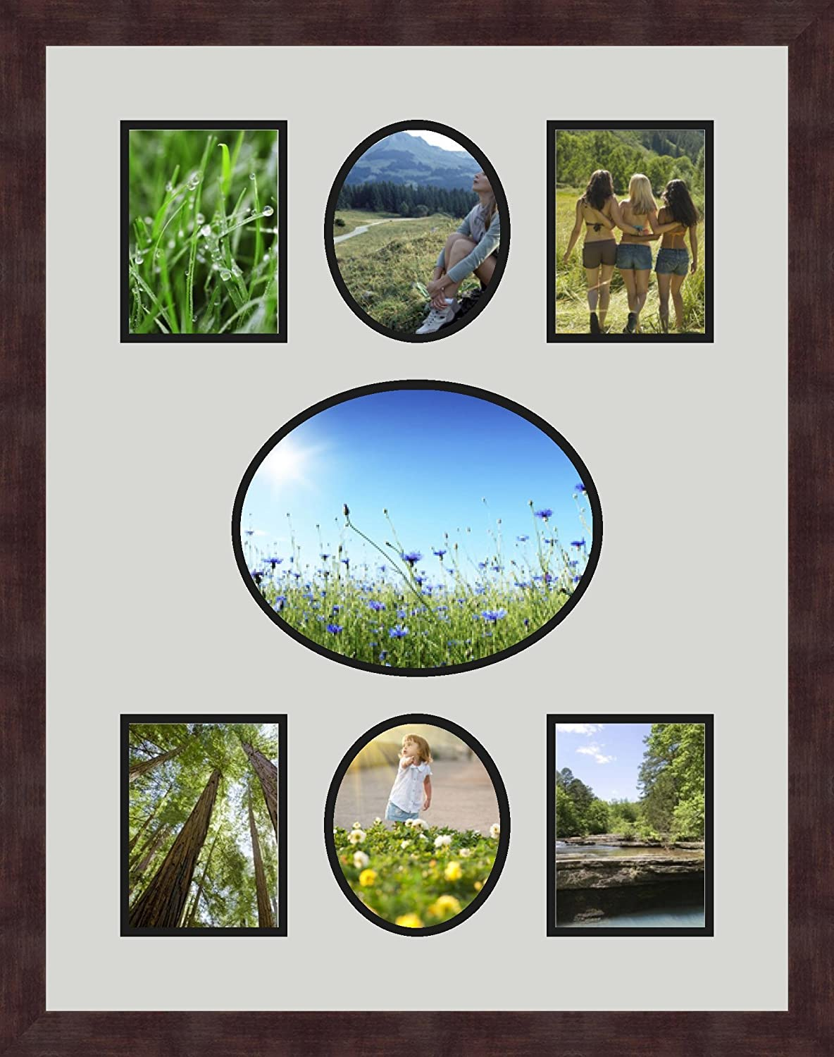 Art to Frames Double-Multimat-623-756//89-FRBW26061 Collage Frame Photo Mat Double Mat with 4-4.5x6 and 2-5x6 and 1-8x10 Openings and Espresso Frame