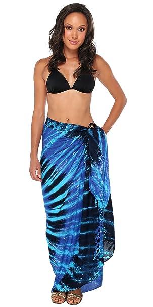 e0e1e567de 1 World Sarongs Womens Tie Dye Swimsuit Cover-Up Sarong in Blue Swirl