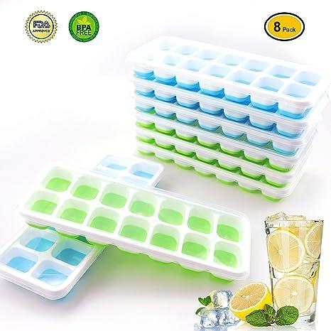 Amazon.com: Bandejas de silicona para cubitos de hielo con ...
