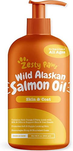 Pure Wild Alaskan Salmon Oil for Dogs Cats – Supports Joint Function, Immune Heart Health – Omega 3 Liquid Food Supplement for Pets – Natural EPA DHA Fatty Acids for Skin Coat – 32 FL OZ