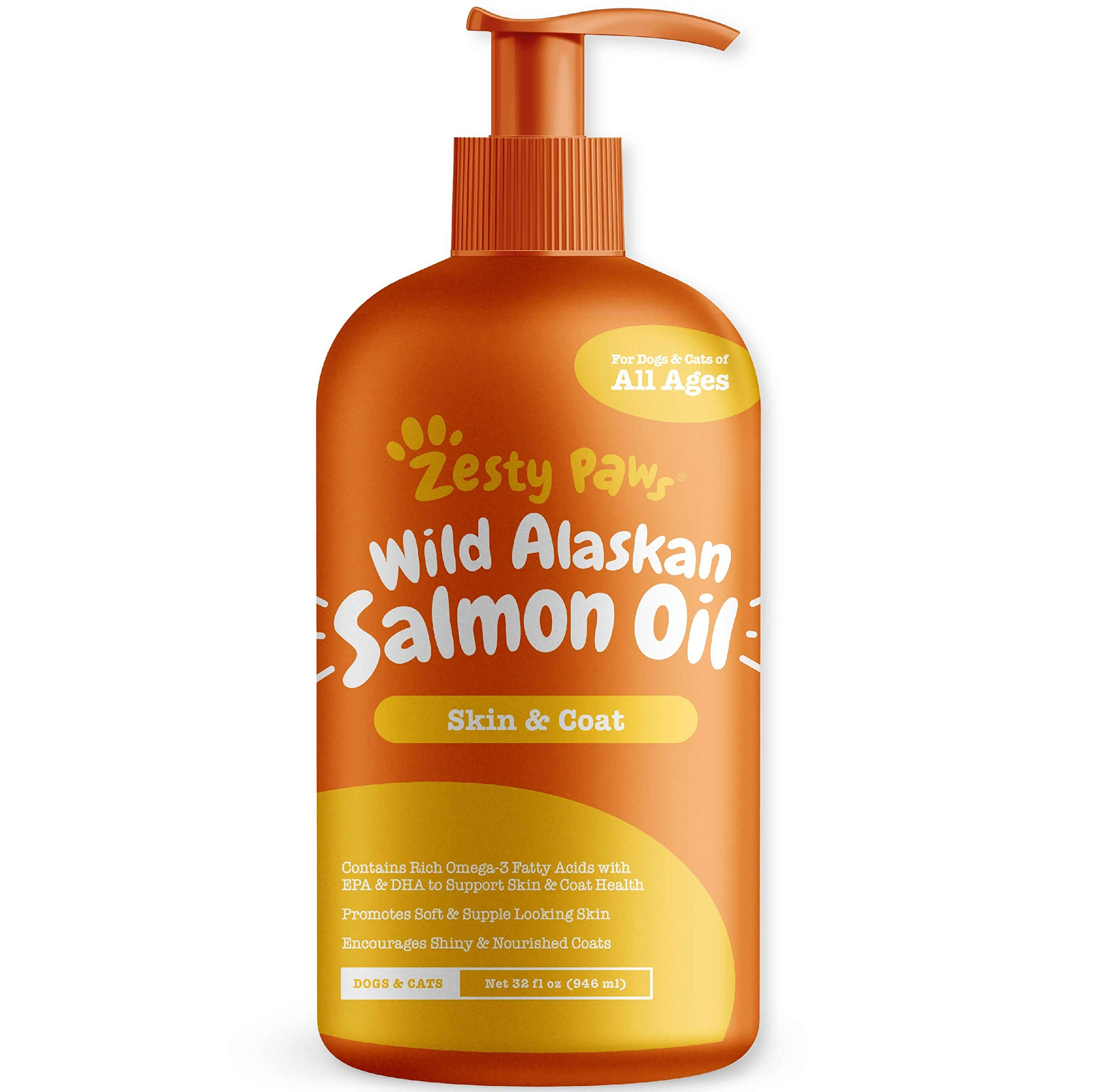 Pure Wild Alaskan Salmon Oil for Dogs & Cats - Supports Joint Function, Immune & Heart Health - Omega 3 Liquid Food Supplement for Pets - All Natural EPA + DHA Fatty Acids for Skin & Coat - 32 FL OZ by Zesty Paws