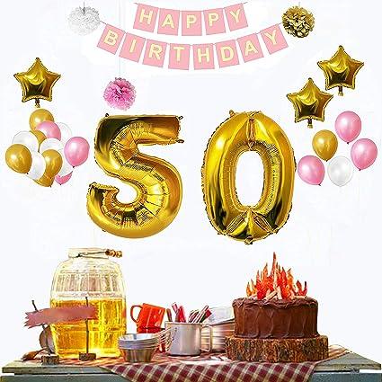 BELLE VOUS 50th Birthday Decorations 32 Pcs Happy Party Banner Set