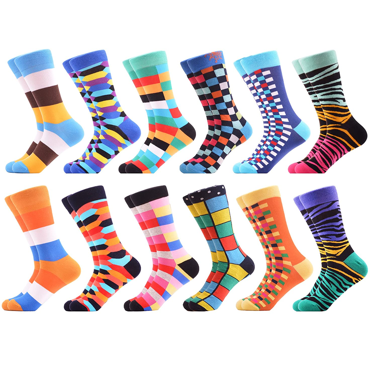 WeciBor Men's Dress Party Crazy Colorful Funny Cotton Crew Socks Packs 058-23