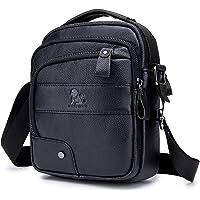Men's Shoulder Bag, Popoti Handbag Crossbody Bag Leather Shopping School Backpack Messenger Carrying Bags Tote Wallet Small Pocktes 18cm (Black)