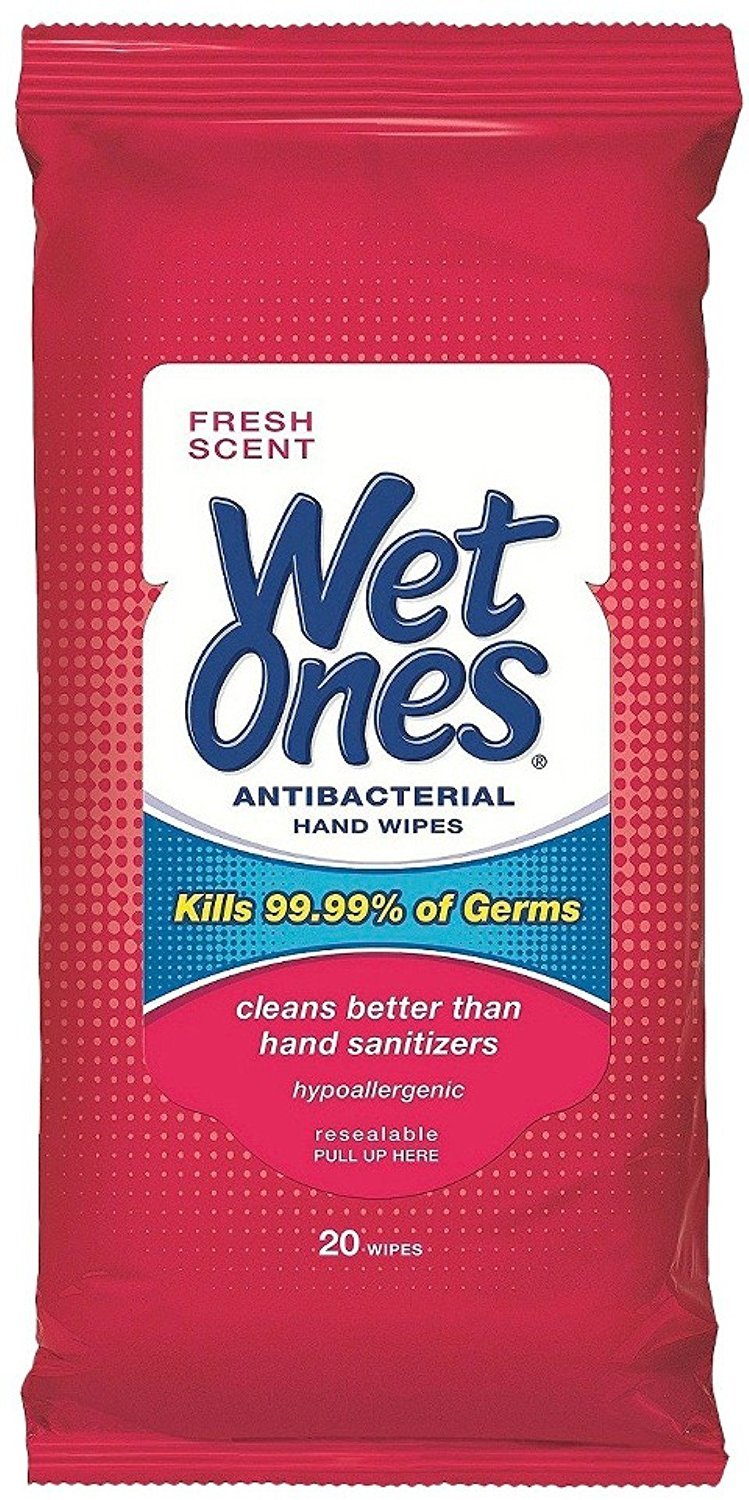 Wet Ones Antibacterial Hand Wipes Travel Pack, 20-Count (Pack of 12)(Colors May Vary)