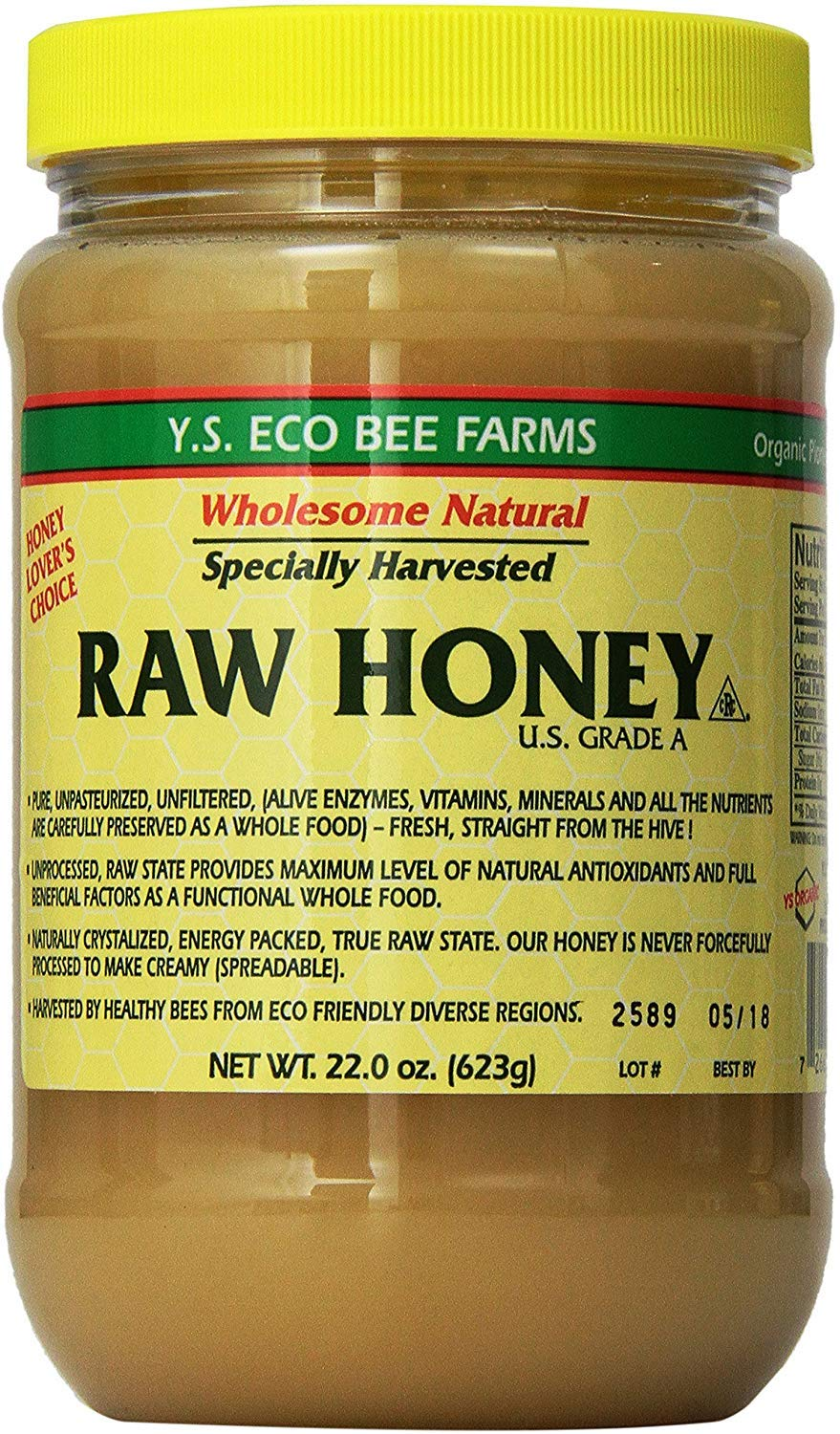 Y.S. Eco Bee Farms Raw Honey - 22 oz, Pack of 4