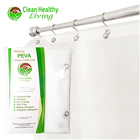 Heavy Duty PEVA Shower Liner / Curtain: Odorless U0026 Anti Mold (with Magnets U0026