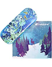 Molshine Retro Light Portable Glasses Case for Reading Glasses (magpie on plum, C)