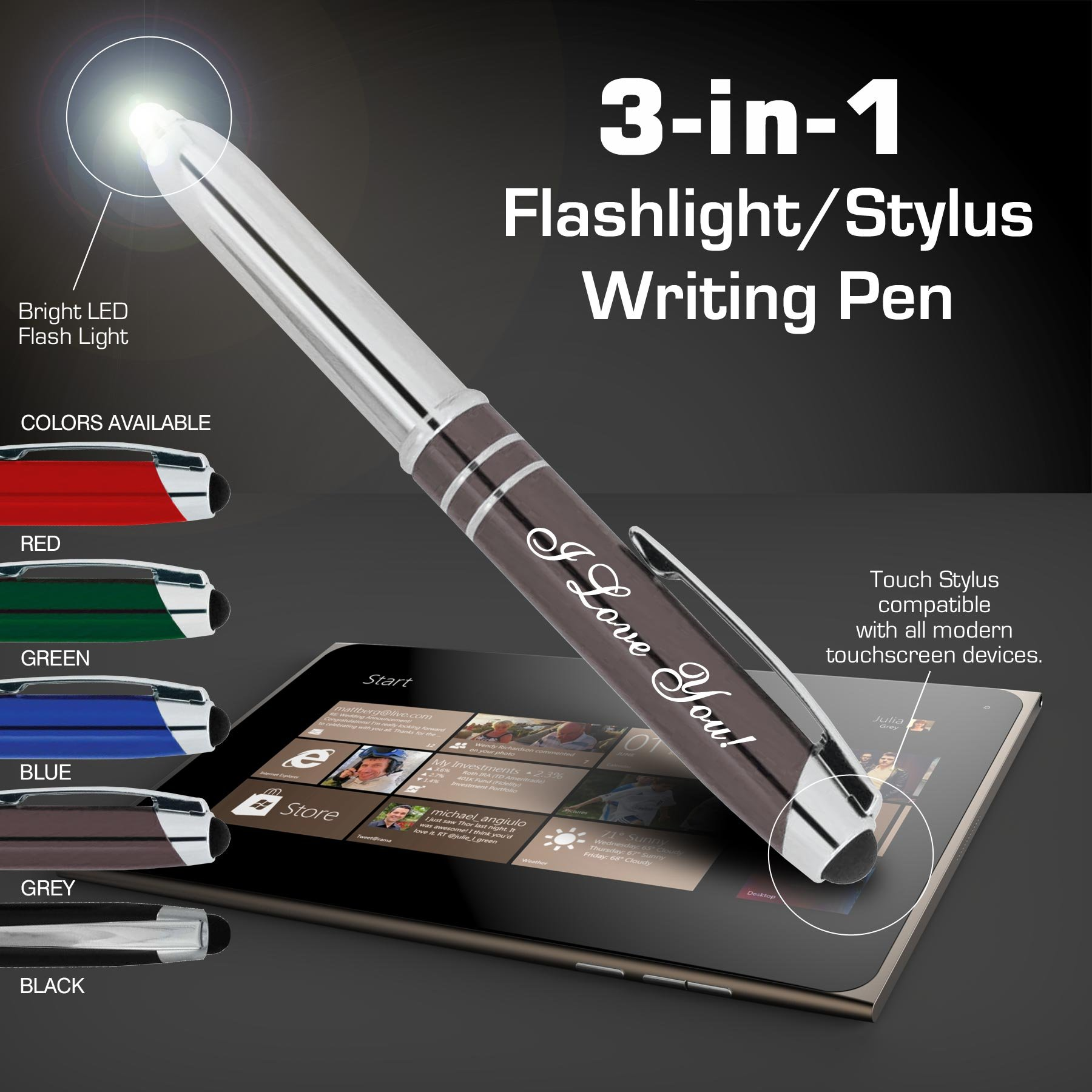 ''Valentines Day'' I Love You Gift Pen for Your Boss Coworker Wife Husband Dad Mom Doctor, 3 in1 Stylus+Metal Pen+LED Flashlight for Phones and Touch Screen Devices, Gunmetal and Red
