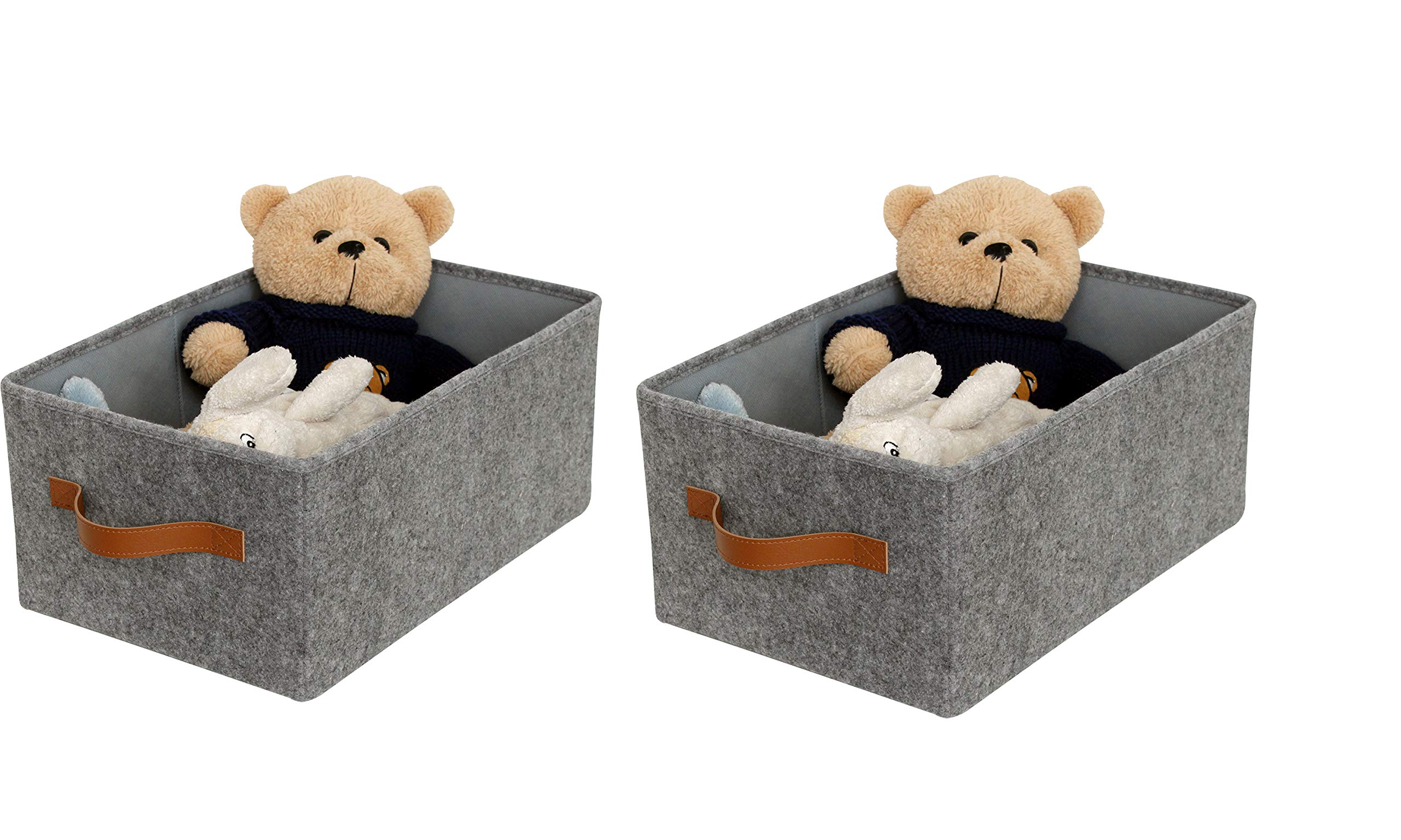 iTIDY Storage Box-Super Soft Felt Foldable Storage Cube Box with Handle,Basket Bin Container Drawer Organizer, Set of 2, Gray
