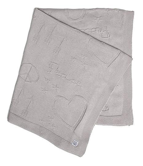 Manta de Punto 100% algodón, diseño de corazones y símbolos ...