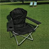 Gr8 Garden Deluxe Folding High Back Camping Chair Black Foldable Caravan Fishing Picnic Beach Garden Patio Furniture Foldable Seat With Cup Holder