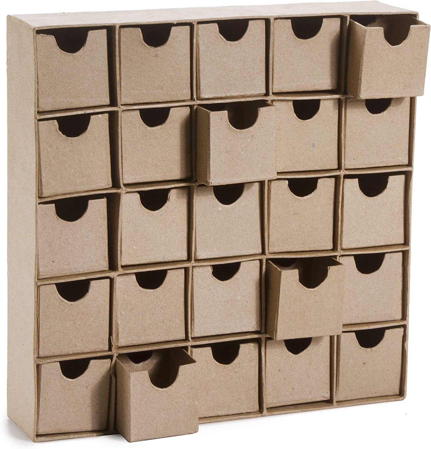 DARICE Unfinished Paper Mache Box Organizer with 25 compartments: 11 x 11, Natural