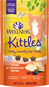 Wellness Kittles Grain-Free Turkey & Cranberries Recipe Crunchy Cat Treats, 2 Ounce Bag