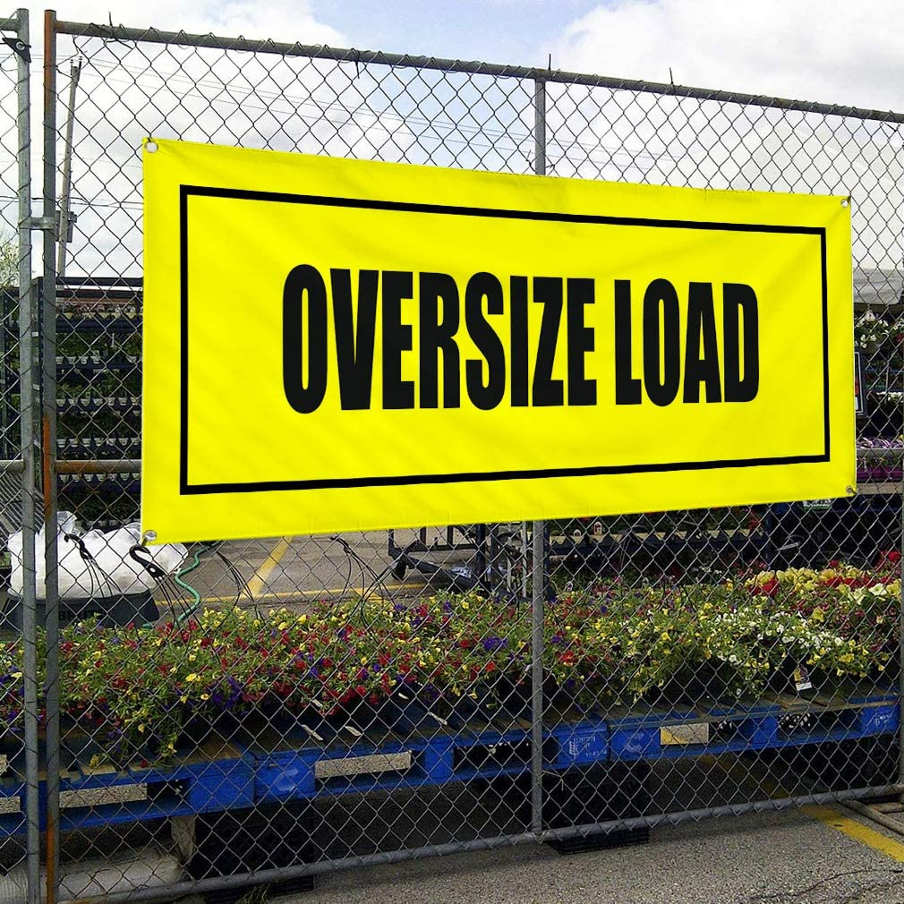 6 Grommets Vinyl Banner Sign Oversize Load Yellow and Black Business Marketing Advertising Yellow 32inx80in Multiple Sizes Available Set of 2