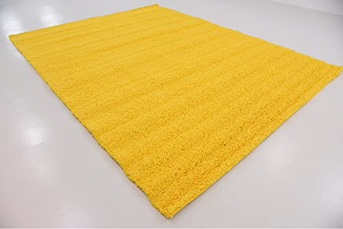 A2Z Rug Cozy Shaggy Collection 9×12-Feet Solid Area Rug – Tuscan Sun Yellow