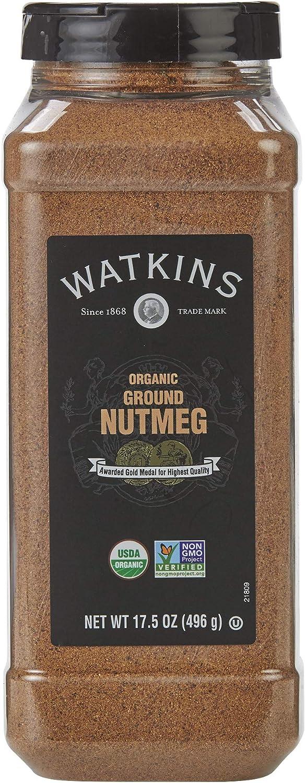 Watkins Gourmet Spice, Organic Ground Nutmeg, 17.5 oz. Bottle, 1 Count (21809)