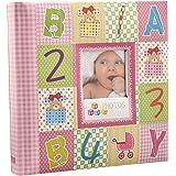 Arpan Pink 10 x 15 cm Baby Photo Album 200 Hold Slip In case Memo Album - Alphabet/Number Cover