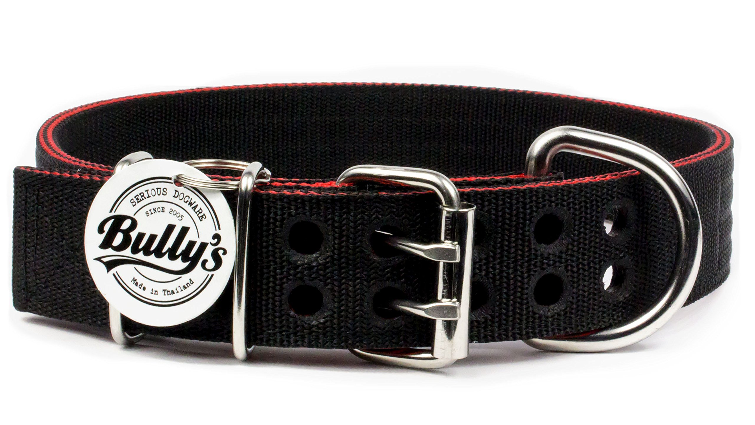 Pitbull Collar, Dog Collar for Large Dogs, Heavy Duty Nylon, Stainless Steel Hardware (Medium, Black with Red Trim)