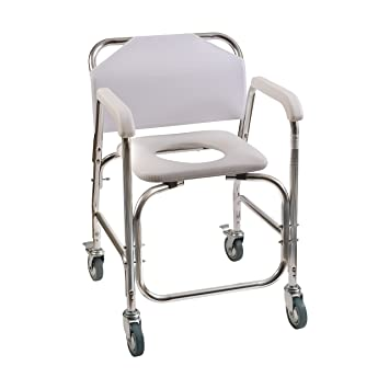 Marvelous Duro Med Shower Chair With Wheels, Commode Chair And Padded Toilet Seat,  Shower