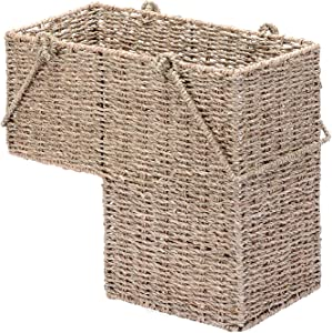 VILLACERA 14-Inch Wicker Stair Case Basket with Handles | Handmade Woven Seagrass in Natural Color