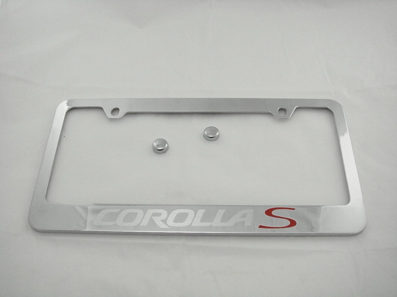Corolla Black Stainless Steel License Plate Frame W// Bolt Caps