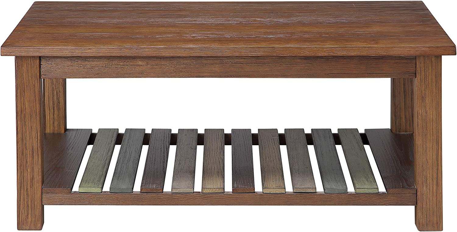 Ball & Cast Densmore Wood Coffee Table with Lower Slatted Shelf, Burnt Sugar