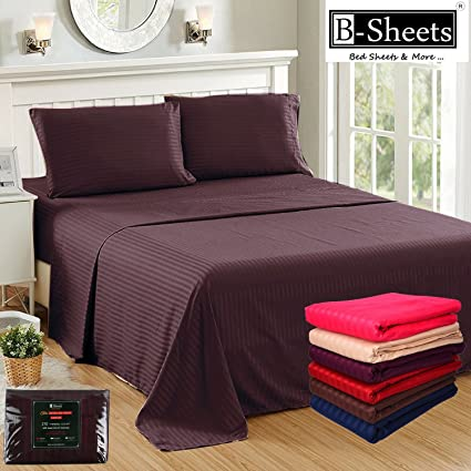 B Sheets   100% Cotton Sateen 210 TC Queen Size Fitted Bed Sheet With
