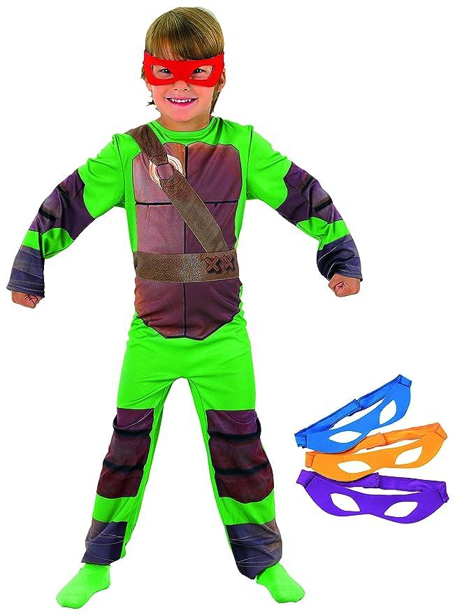 Tortugas Ninja - Disfraz de Tortuga Ninja con 4 antifaces para niño, infantil 8-10 años (Rubies 886811-L)