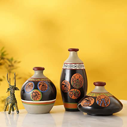 Amazon.in & Artysta Handcrafted Earthen Terracotta Warli Painting Flower Vase for Home Décor| Flower Vase Living Room| Gifting Items| Vases Set of 3| Small Vases