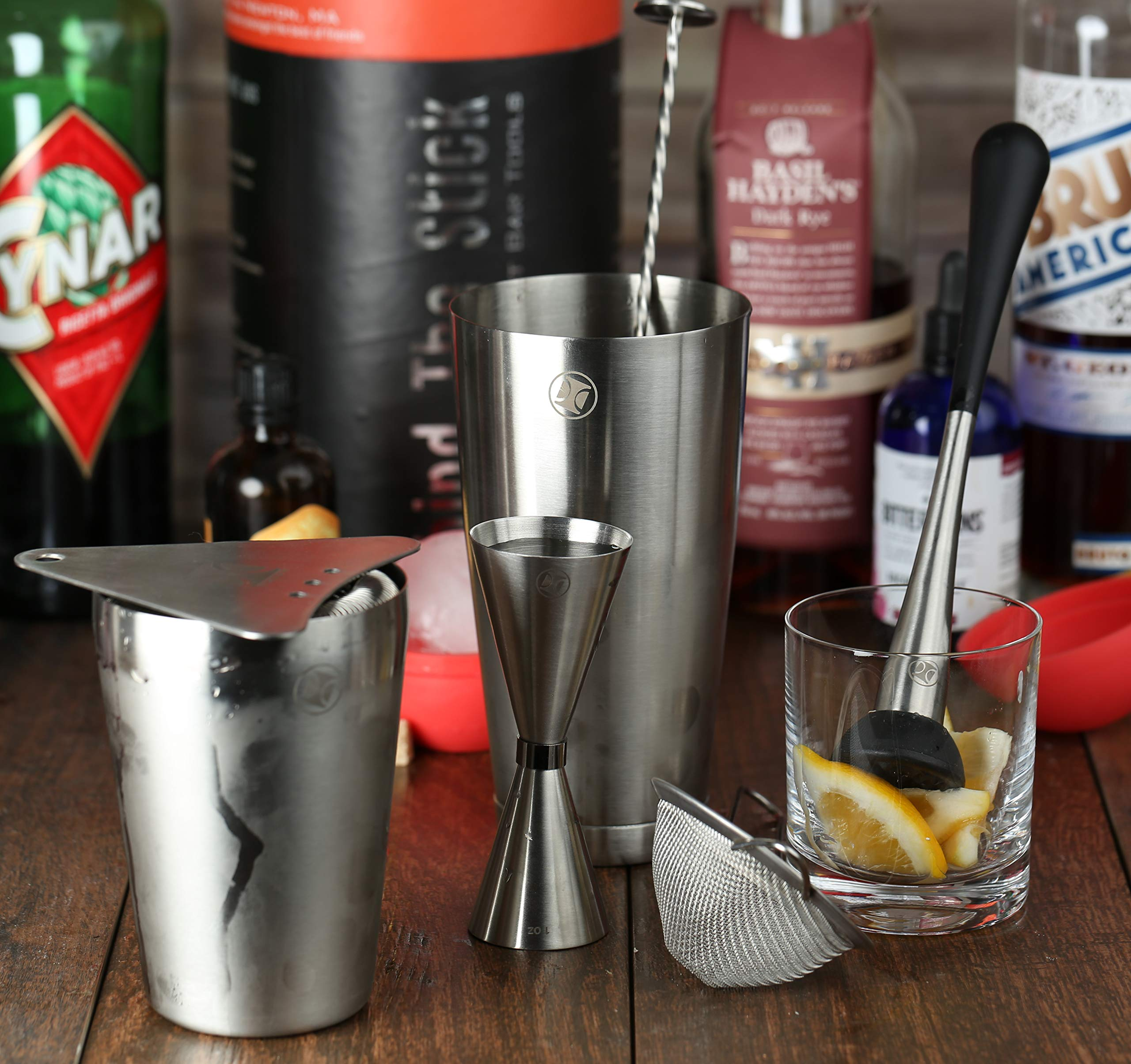 Boston Cocktail Shaker Set I Bar tools, 7 Piece Barware Kit - 2 Piece Boston Shaker, Jigger, Bar Spoon, Hawthorne & Citrus Strainers, Muddler in Brushed Stainless Steel by The Elan Collective by The Elan Collective (Image #3)