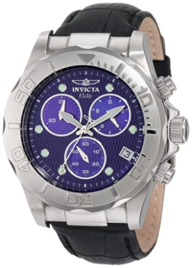 587379ccb Invicta Men's 1717 Pro Diver Chronograph Blue Dial Black Leather Watch:  Amazon.ca: Watches