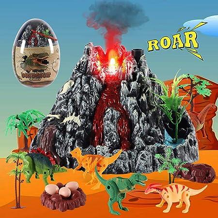 Toyssa 31 Piezas Dinosaurios Juguetes con Figuras de Dinosaurios, Huevo Dinosaurio, Volcán, Árbol, Juguetes Educativos Regalos Fiesta Decoración Huevos de Pascua para Bebés Niños Niñas: Amazon.es: Juguetes y juegos