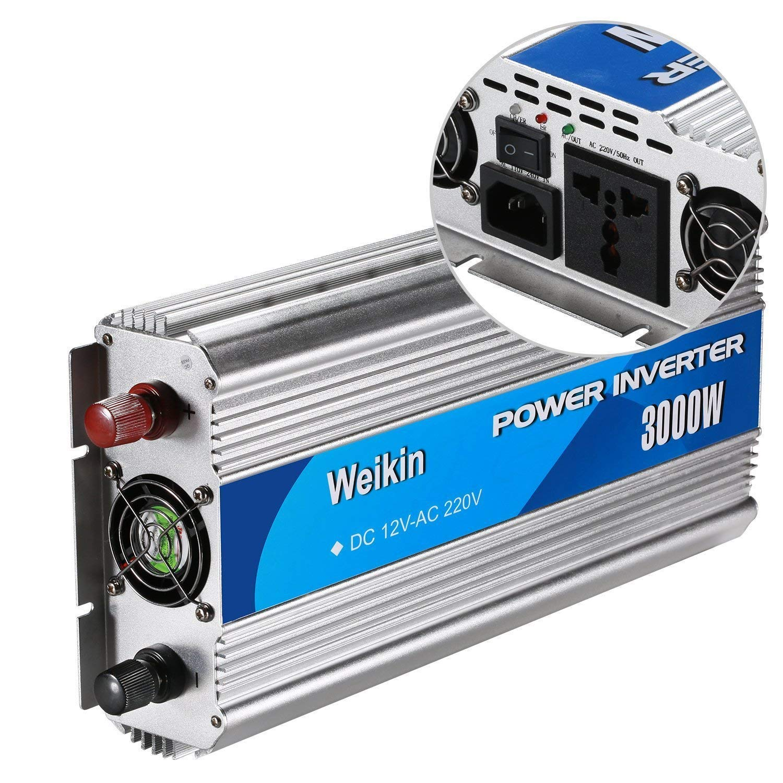 Inversor de Corriente WeiKin 3000 vatios DC 12V a CA 220V Convertidor de Potencia 3000w Inversor de Onda sinusoidal modificada con función de Carga de la ...