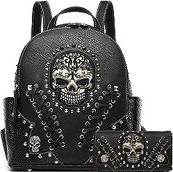 Sugar Skull Punk Art Rivet Stud Biker Purse Women Fashion Backpack Python  Daypack Shoulder Bag Wallet a14271c57eb0c