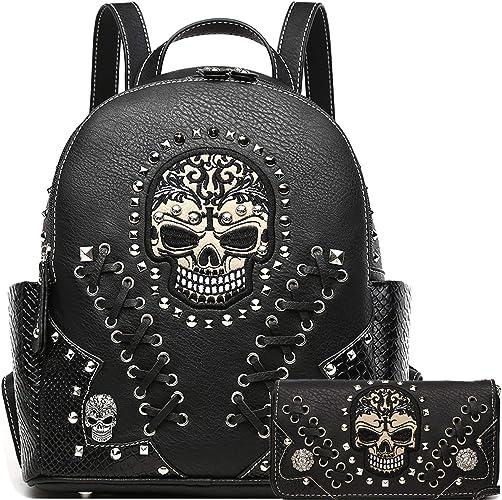 Sugar Skull Punk Art Rivet Stud Biker Purse Women Fashion Backpack Python Daypack Shoulder Bag Wallet Set