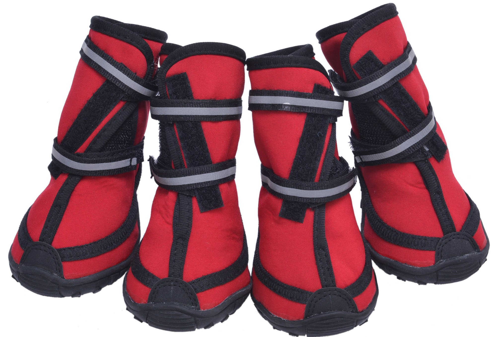 Waterproof Dog Walking Boots Non Slip Paw Protectors Red 6(2.36