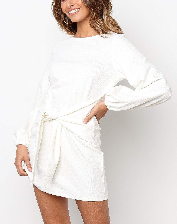 R.Vivimos Womens Autumn Winter Cotton Long Sleeves Elegant Knitted Bodycon Tie Waist Sweater Pencil Dress