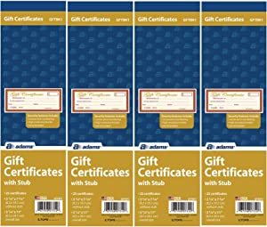 """Adams 1-Part Gift Certificates with Stub 3-1/4"""" x 7-13/16"""", (4)"""