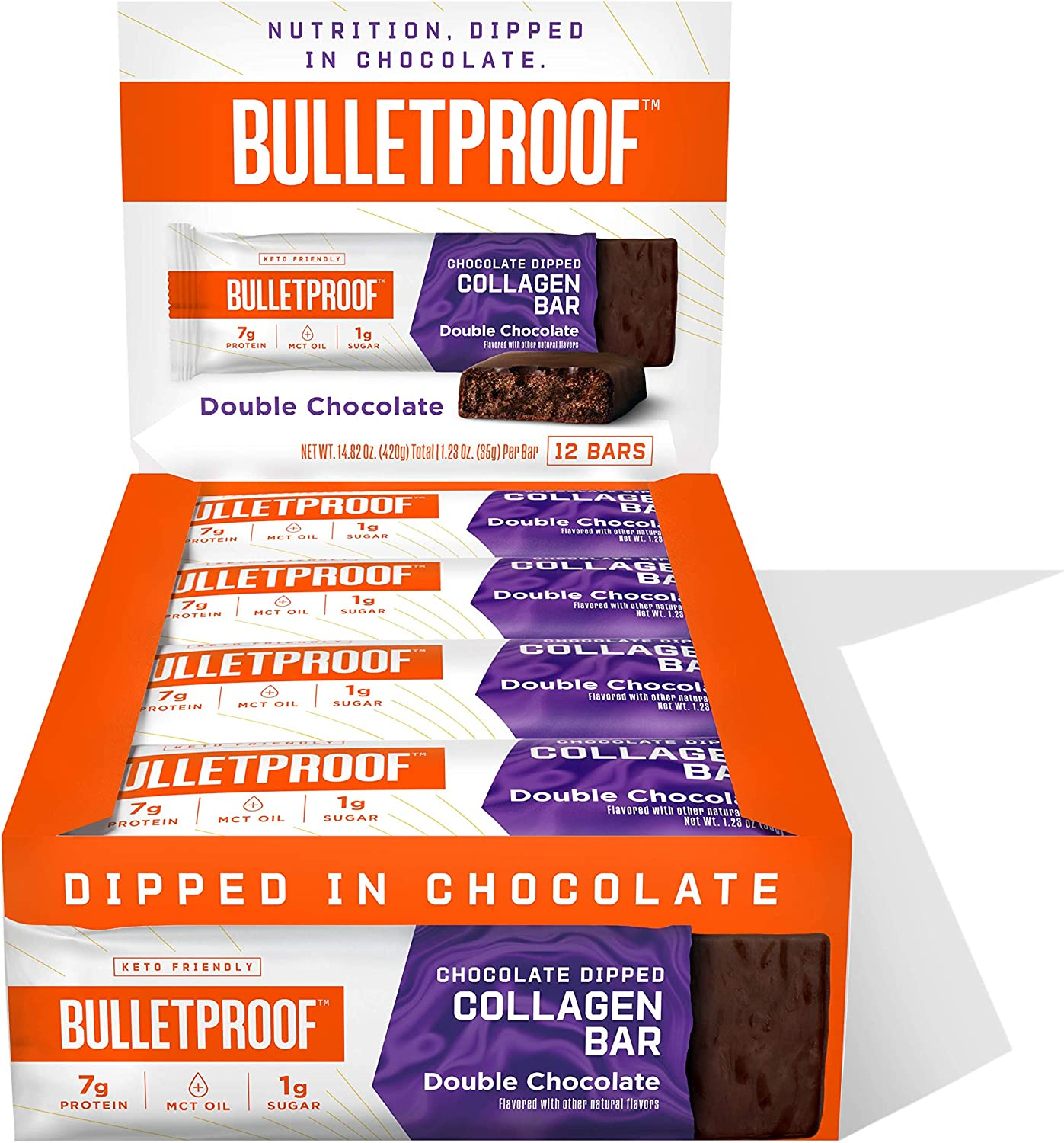 Chocolate Dipped Protein Bars, Double Chocolate, 7g Protein, 12 Pack, Bulletproof Grass Fed Collagen and MCT Oil, Healthy Snacks, Made with Collagen and MCT Oil