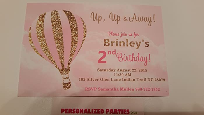 Amazoncom Hot air balloon invitations in pink and gold set of 12