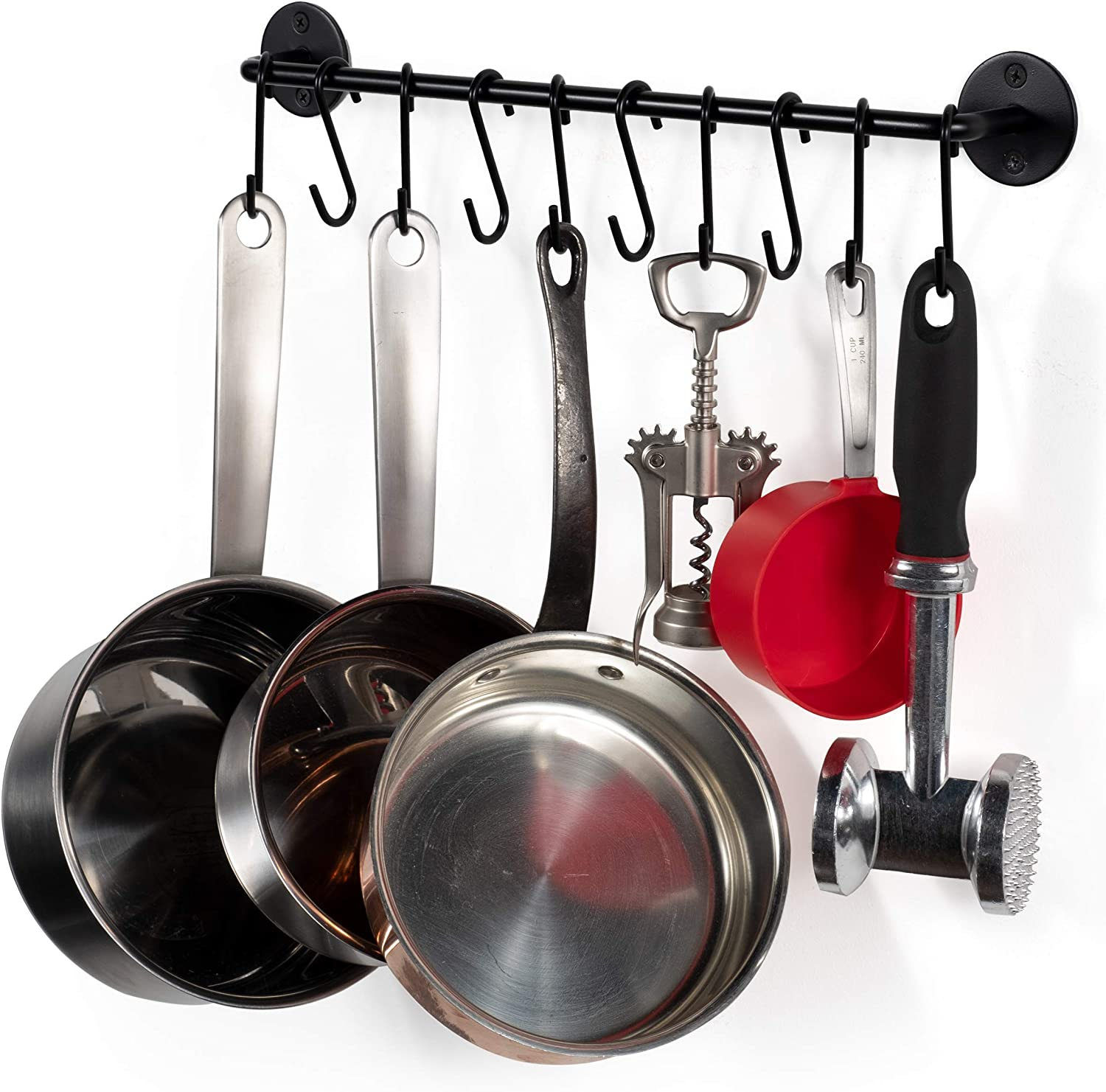 Amazon Com Wallniture Cucina 16 Wall Mount Kitchen Utensil Holder With 10 S Hooks For Hanging Pots And Pans Set And Lid Organizer Black Kitchen Dining